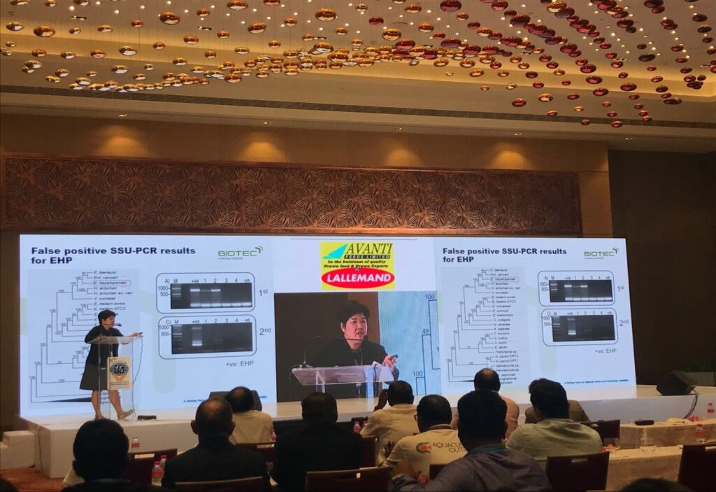 Dr. Kallaya Sritunyalucksana – Principal Researcher & Head of Shrimp Pathogen Interaction Laboratory, Thailand presenting on EHP & EMS during Aqua India 2018