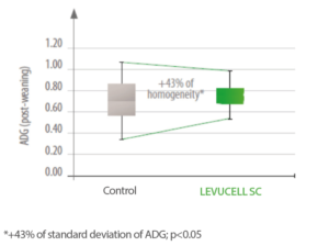 Effect of LEVUCELL SC on growth homogeneity in calves receiving diet supplementation.